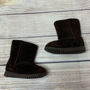 Circo Dark Brown suede faux fur lined boots